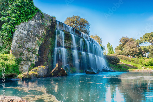 Scenic waterfall in the EUR district of Rome, Italy - 210095422