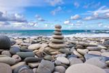Zen pyramid on the pebble beach    - 210101093