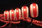 Japanese festival paper lanterns at night 夏祭りの提灯 - 210101281