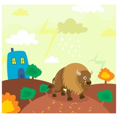 cute funny bison bull in the outdoor cartoon character