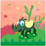 cute funny green rhino in the bamboo forest cartoon character - 210107226