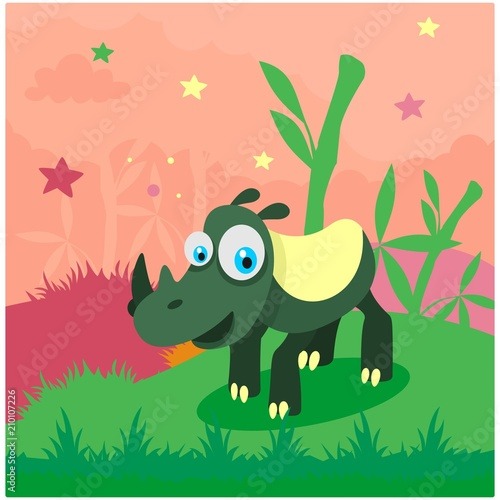 Naklejka cute funny green rhino in the bamboo forest cartoon character