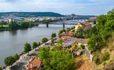 View of Vltava River and bridges from Vysehrad, Prague, Czech Republic