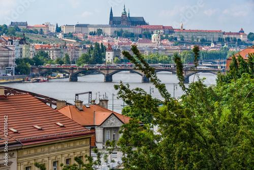 Aluminium Bergrivier View of Vltava River and bridges from Vysehrad, Prague, Czech Republic