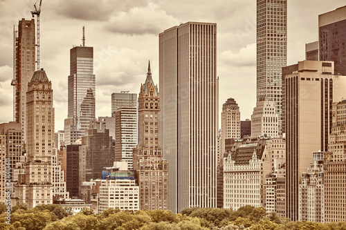 Sepia toned picture of the Manhattan skyline. - 210113611