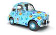 Leinwanddruck Bild - Blue cartoon car with flower print