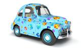 Blue cartoon car with flower print - 210120043