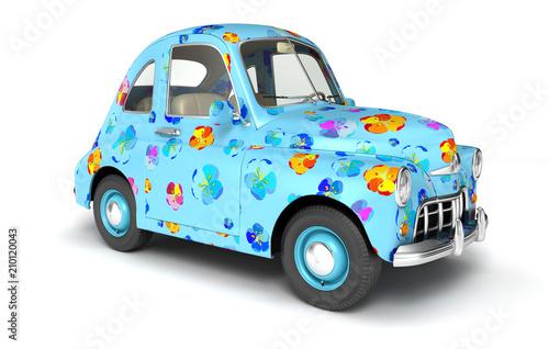 Plexiglas Auto Blue cartoon car with flower print