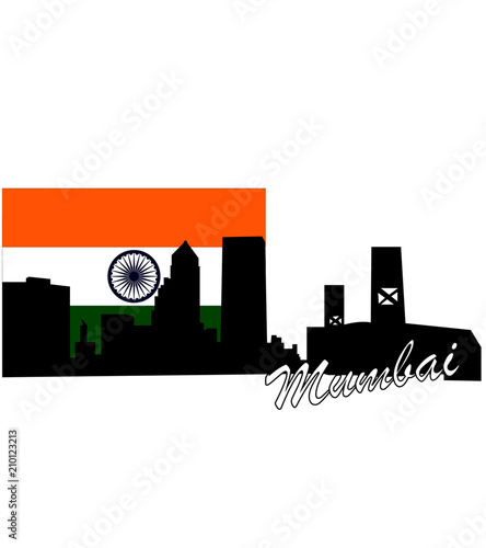 silhouette of mumbai against the background of the flag of india - 210123213