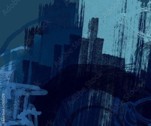 Abstract painting on canvas. Hand made art. Colorful texture. Modern artwork. Strokes of fat paint. Brushstrokes. Contemporary art. Artistic background image. - 210126218