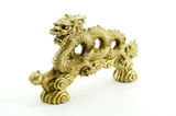 Golden dragon isolated on white background - 210132035
