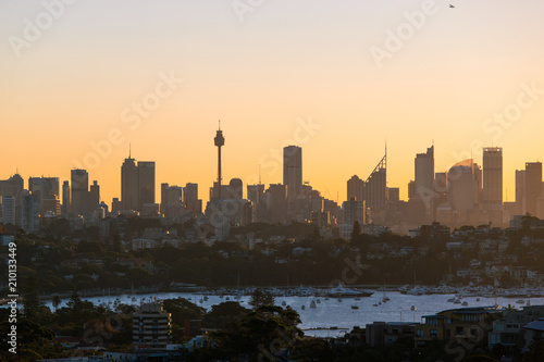 Sydney skyline with clear sky at sunset time.