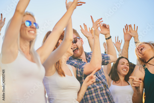 Group of people dancing and having a good time at the outdoor party/music festival  - 210137401