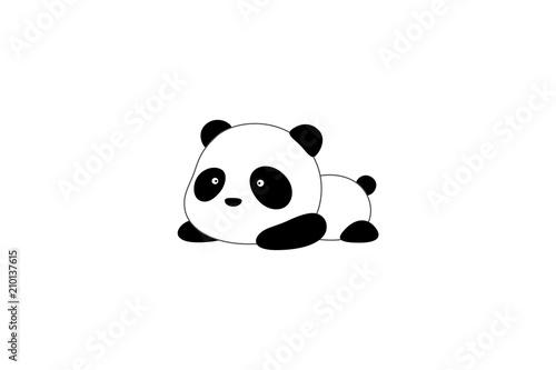 Vector Illustration / Logo Design - Cute funny cartoon giant panda bear lies on its stomach on the ground