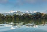 The Machapuchare and Annapurna range seen from Phewa Lake in Pokhara, Nepal  - 210139032
