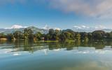 The Machapuchare and Annapurna range seen from Phewa Lake in Pokhara, Nepal  - 210139275