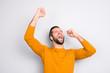 Leinwanddruck Bild - People leadership wonderment concept. Portrait of cheerful excited joyful careless handsome attractive delightful yelling shouting guy isolated on gray background