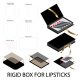 rigid box book shape for lipsticks package dieline - 210142687