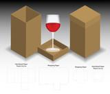 rigid box for wine glass mockup with dieline - 210142814