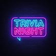 Trivia night announcement neon signboard vector. Light Banner, Design element, Night Neon Advensing. Vector illustration
