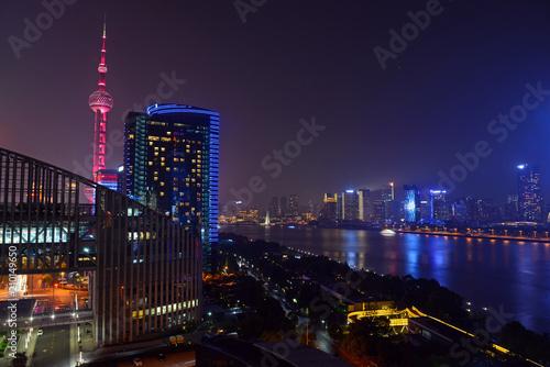 Plexiglas Shanghai City view at night with Oriental Pearl Tower Shanghai, China
