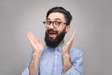 Excited hipster in surprise - 210155456