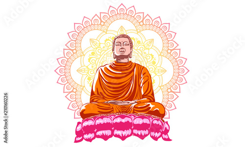Fotobehang Boeddha Buddha over ornate mandala round pattern esoteric, shining buddha in meditation on beautiful and magical mandala can be used as greeting card for