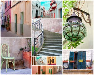 Postcard - Collage - photos from vacation and travel - Postkarte - Altstadt - Städtereise
