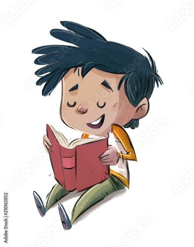 niño leyendo sentado - 210163852