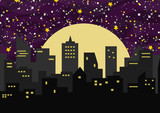 Vector background illustration with night city, sky, stars and dust. - 210172499