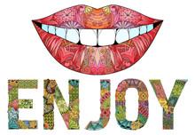 Word Enjoy  Silhouette Of Lips  Decorative Zentangle Object Sticker