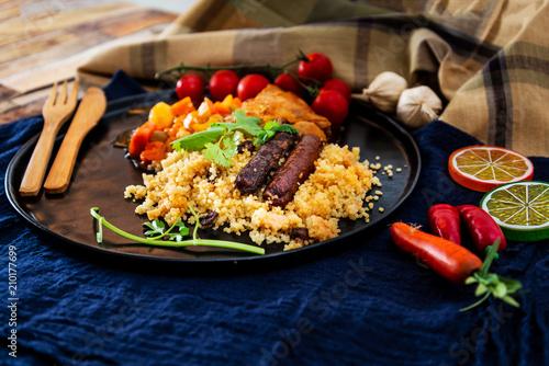 beef tajine with vegetables and Semolina - 210177699