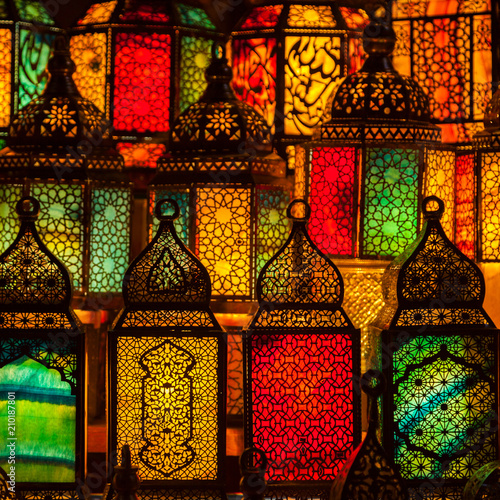 lighting with colors on muslim style's lantern - 210187801