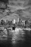 Black and white picture of New York cityscape at night, USA. - 210190055