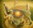 An oil painting on canvas. The origin of life. Author: Nikolay Sivenkov.