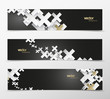 Set of abstract black and white plus signs with golden decoration web headers.