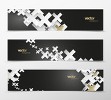Set of abstract black and white plus signs with golden decoration web headers. - 210198020