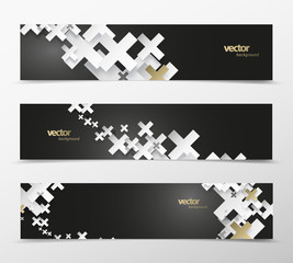 Set of abstract black and white plus signs with golden decoration web headers. © pokki