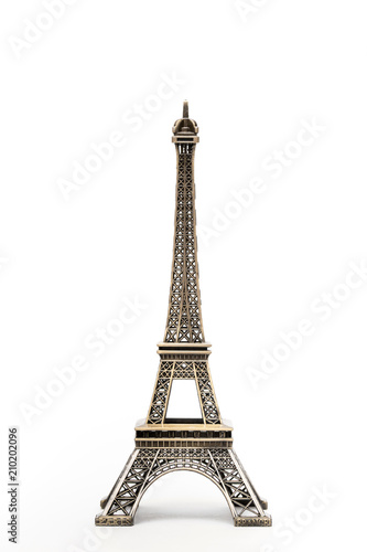 miniature model of a golden Eiffel tower on a white background (mock-up) - 210202096