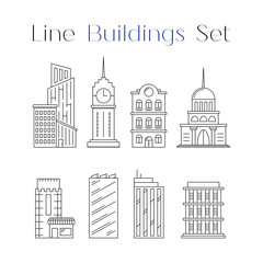 Line design art house and building icons set. Collection of architecture. Flat constructions. For card, poster, banner city or town concept.  Vector illustration isolated