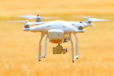 Drone quadrocopter Dji Phantom 3 Professional with camera. Farmer use drone for inspect of crop on wheat fields. Modern technology in agriculture. - 210213632