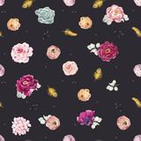Watercolor floral vector pattern - 210216447