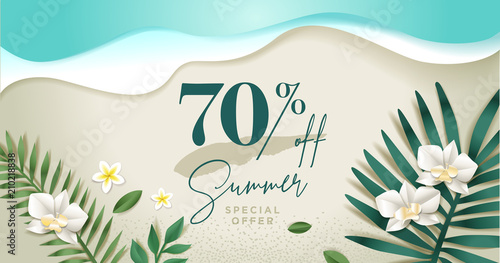 Summer sale banner design template. Vector illustration concept for internet marketing, poster, shopping ads, social media, web and graphic design. - 210218838