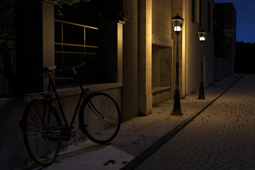 3d rendering of old town street with leaning bicycle and showcase with lighten lantern at night © Brilliant Eye