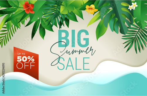 Summer sale banner design template. Vector illustration concept for internet marketing, poster, shopping ads, social media, web and graphic design. - 210224690