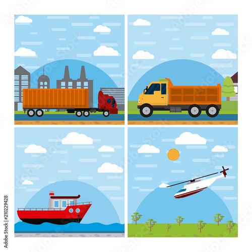 Fotobehang Lichtblauw Global transportation concept