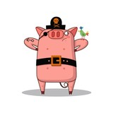 Funny pig in costume of pirate