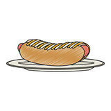 Hot dog on dish - 210244663
