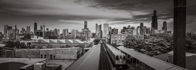 Chicago Skyline from the west side with the train