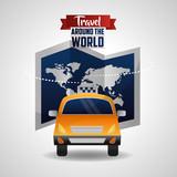 travel taxi car map world transport public vector illustration
